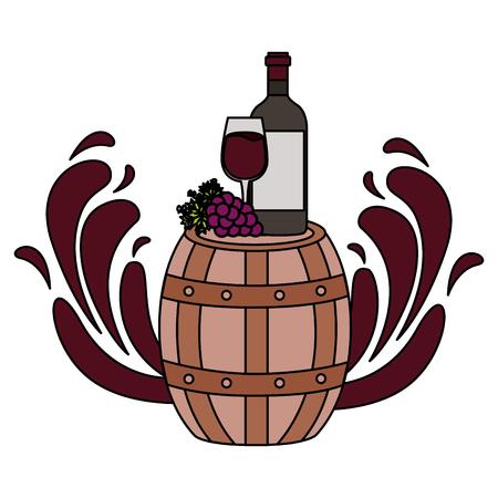 wine bottle cup barrel grapes splashes vector illustration Illustration
