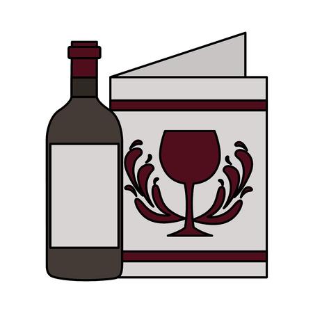 wine bottle restaurant menu beverages vector illustration