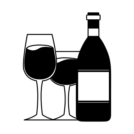 wine bottle and glass cups vector illustration