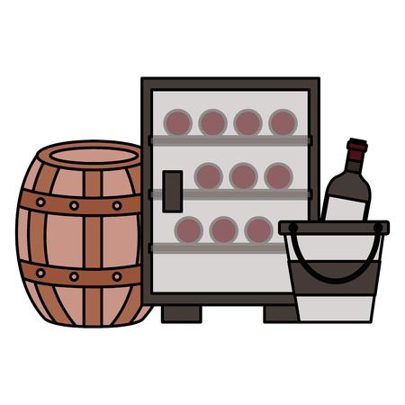 Refrigerador botellas de vino cubo de hielo barril ilustración vectorial