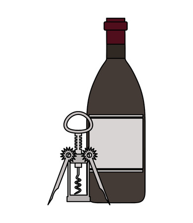 wine bottle with corkscrew on white background vector illustration