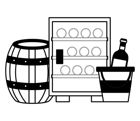refrigerator wine bottles ice bucket barrel vector illustration