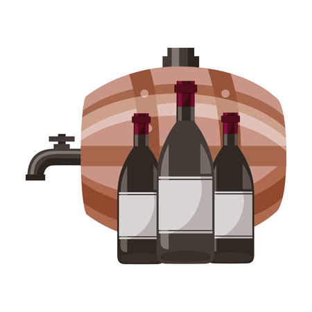 wine barrel and three bottles vector illustration