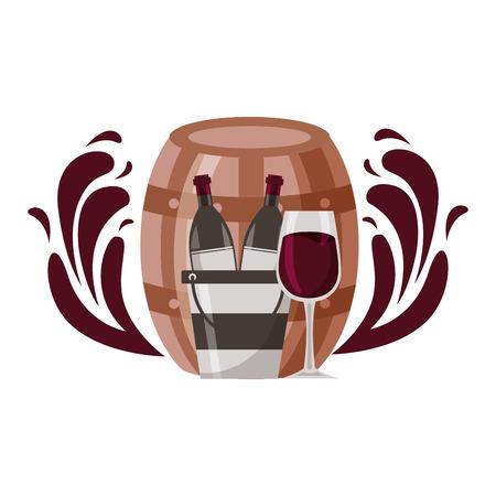 wine bottle ice bucket cup splashes vector illustration