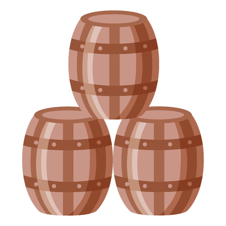 wine wooden barrels on white background vector illustration