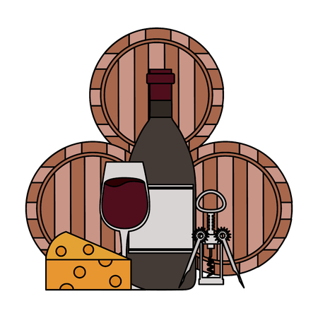 wine bottle cup cheese corkscrew and barrels vector illustration