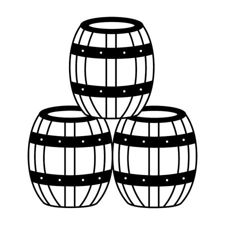 Barriles de madera de vino sobre fondo blanco ilustración vectorial Ilustración de vector