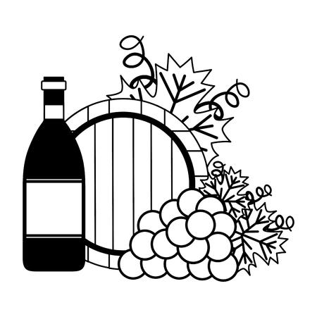 wine bottle grapes and barrel vector illustration