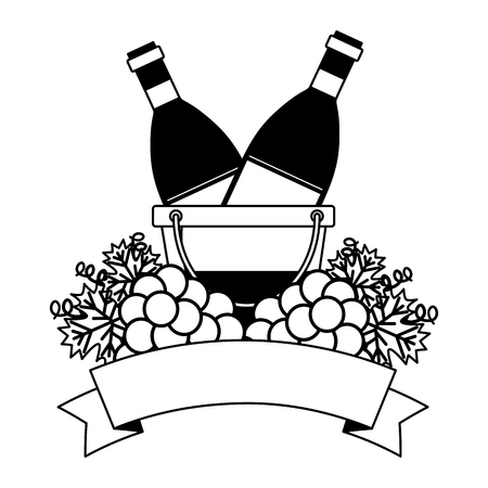 wine bottles ice bucket and grapes vector illustration 일러스트
