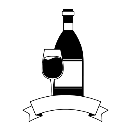 wine bottle and glass cup vector illustration