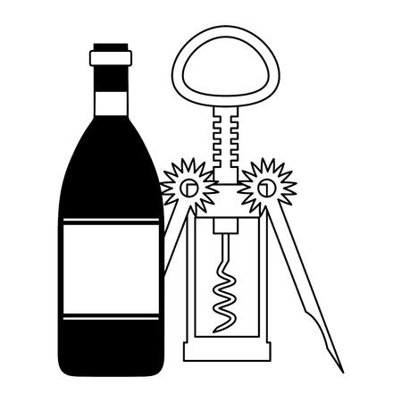 wine bottle corkscrew white background vector illustration
