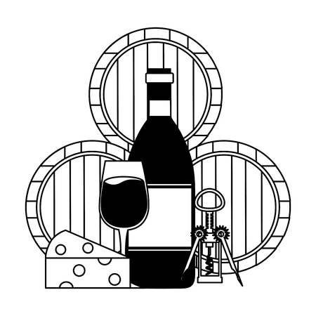 wine bottle cup cheese corkscrew and barrel vector illustration