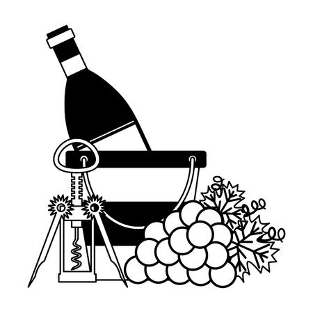 wine bottle ice bucket grapes and corkscrew vector illustration Ilustração
