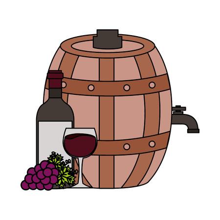 wine bottle cup grapes barrel vector illustration