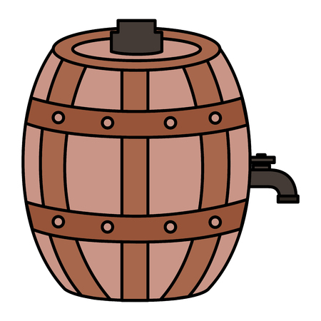 wooden wine barrel on white background vector illustration Banque d'images - 125979223