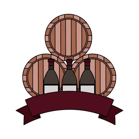 wine bottles and three barrels vector illustration