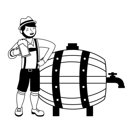 bavarian man with beers barrel vector illustration Çizim