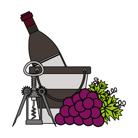 wine bottle ice bucket grapes and corkscrew vector illustration 向量圖像