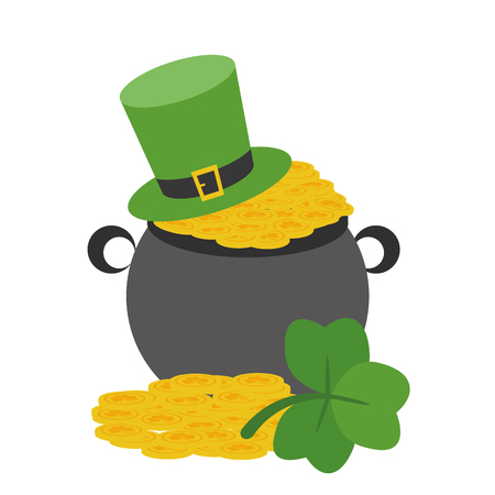 pot with coins clover and hat happy st patricks day vector illustration Illustration