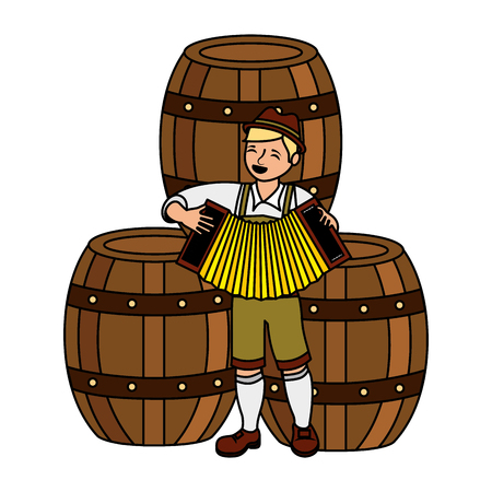 bavarian man with accordion and barrels vector illustration