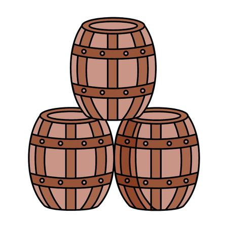 Barriles de madera de vino sobre fondo blanco ilustración vectorial