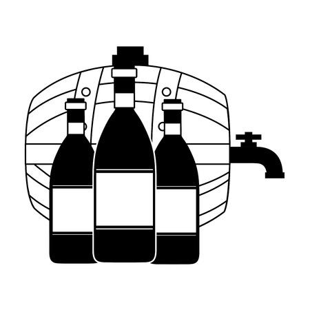 barril de vino y tres botellas ilustración vectorial