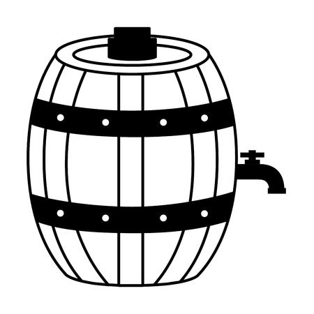 Barril de vino de madera sobre fondo blanco ilustración vectorial Ilustración de vector