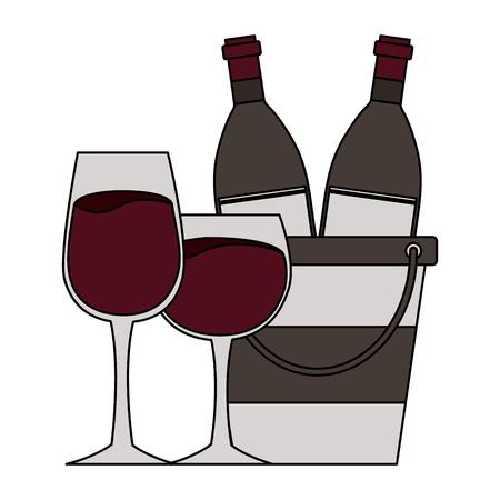 wine bottle ice bucket glass cups vector illustration