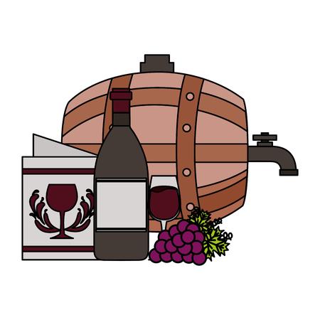 wine bottle barrel cup grapes menu vector illustration