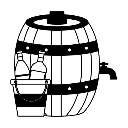 wine bottles on ice bucket and barrel vector illustration