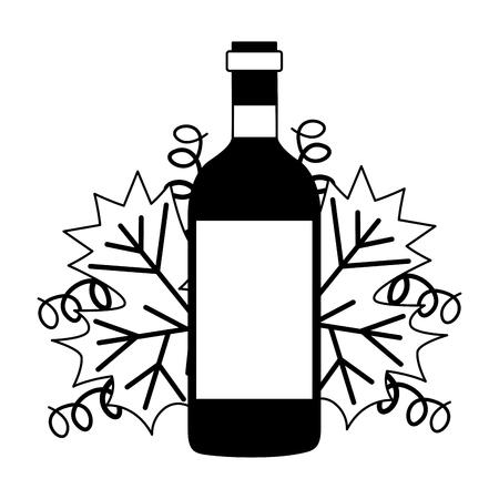 wine bottle and natural leaf vector illustration Illustration