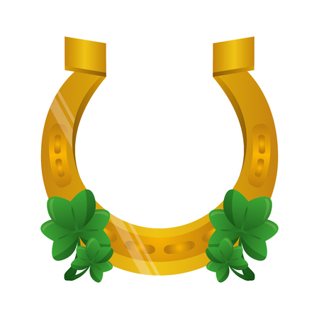 horseshoes clovers happy st patricks day vector illustration