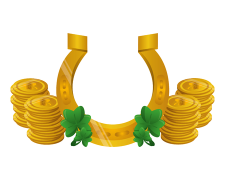 horseshoe clover coins happy st patricks day vector illustration Ilustracja
