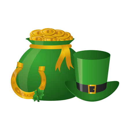 money bag with coins hat horseshoe happy st patricks day vector illustration
