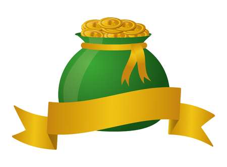 money bag with coins ribbon happy st patricks day vector illustration