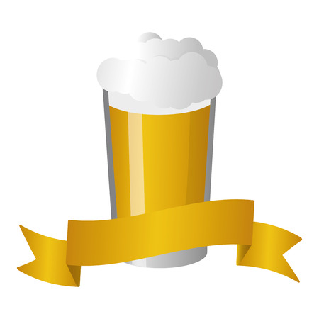 cold beer foam on white background vector illustration