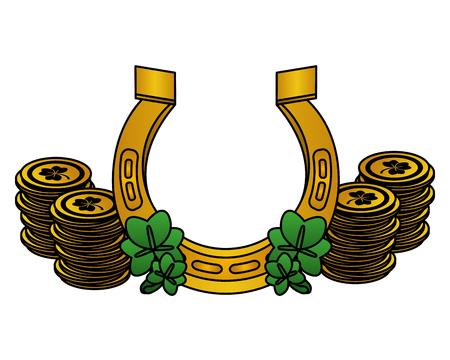 horseshoe clover coins happy st patricks day vector illustration Illustration