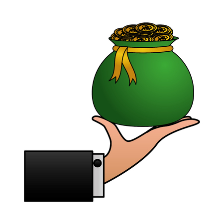hand holding money bag coins happy st patricks day vector illustration