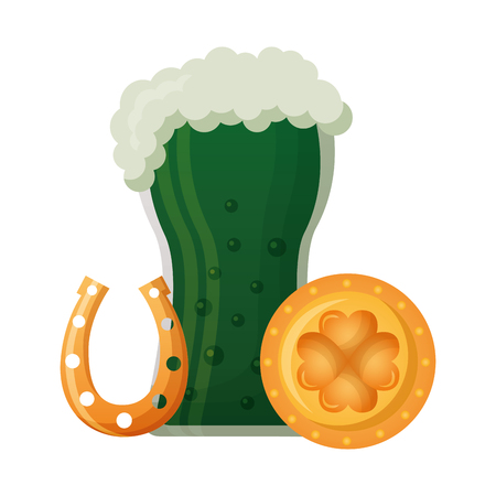 green beer horseshoe coin clover and happy st patricks day vector illustration 일러스트
