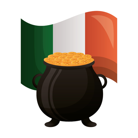 cauldron coins irish flag happy st patricks day vector illustration Foto de archivo - 125979328