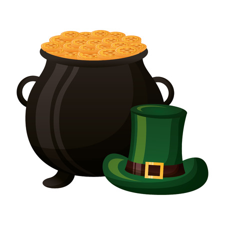 cauldron coins green hat happy st patricks day vector illustration Foto de archivo - 125979329