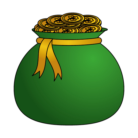 money bag with coins happy st patricks day vector illustration