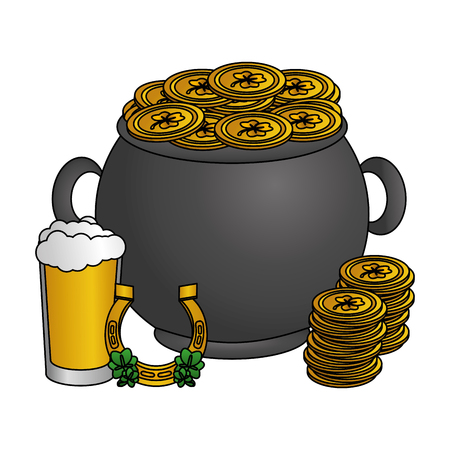 pot with coins hat horseshoe happy st patricks day vector illustration