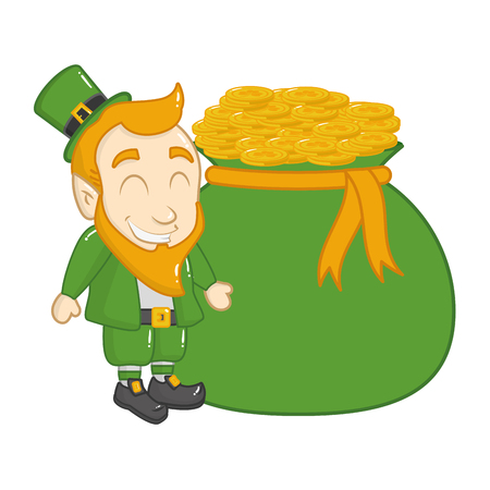leprechaun money bag coins happy st patricks day vector illustration