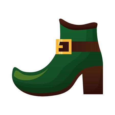 green shoe of leprechaun happy st patricks day vector illustration