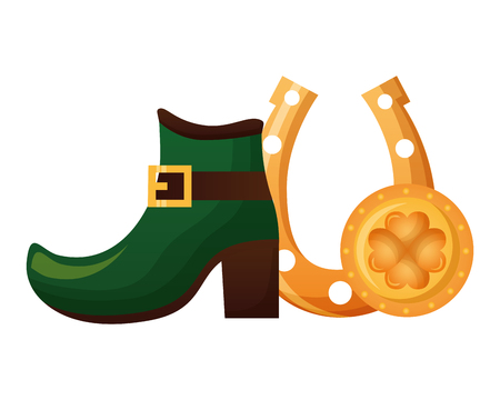 green shoe horseshoe and coin happy st patricks day vector illustration