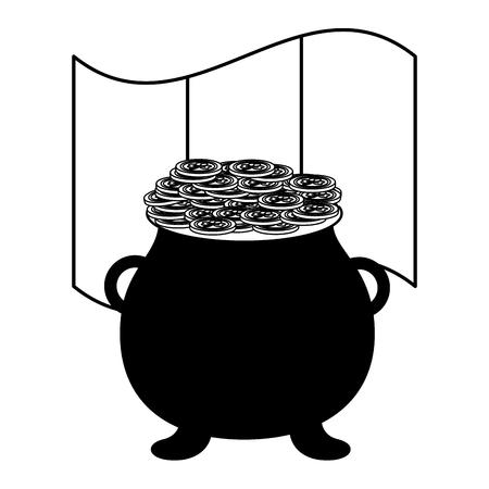 cauldron coins irish flag happy st patricks day vector illustration Standard-Bild - 125979373