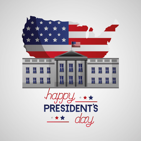 the white house map american flag happy presidents day vector illustration Illustration