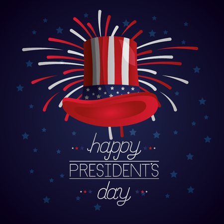 traditional hat fireworks happy presidents day vector illustration Ilustrace