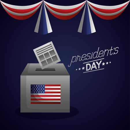happy presidents day voting box pennants decoration vector illustration